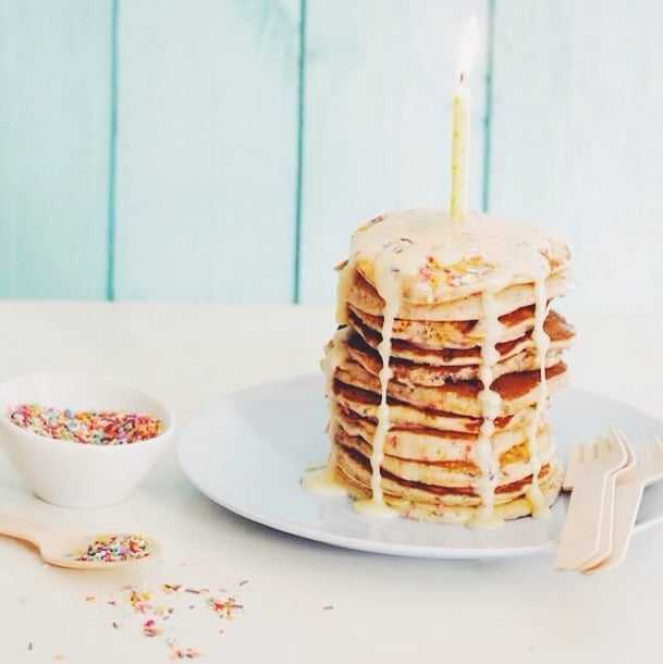 Treat yourself to a vegan version of funfetti pancakes when you have something special to celebrate.  Source: Instagram user misssputnik