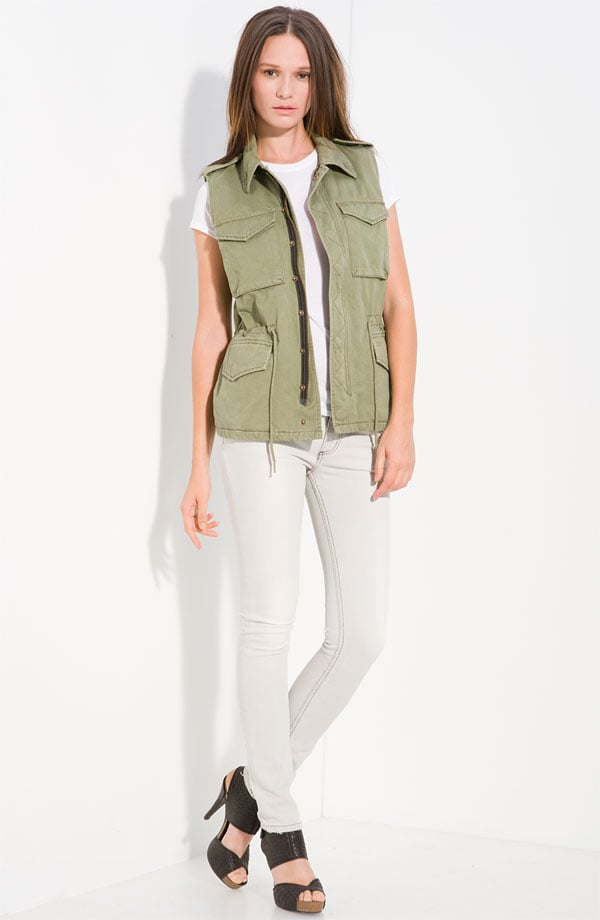 Work the military-inspired angle and top off your pretty printed sundresses with a utilitarian vest.  Zadig & Voltaire Samy Military Vest ($295)
