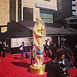 The Oscars statue got protected from the elements before Oscar Sunday. Source: Instagram users popsugar
