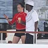 Diddy hung out on his yacht in St. Barts.