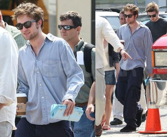 Photos of Robert Pattinson Drinking Coffee On the Set