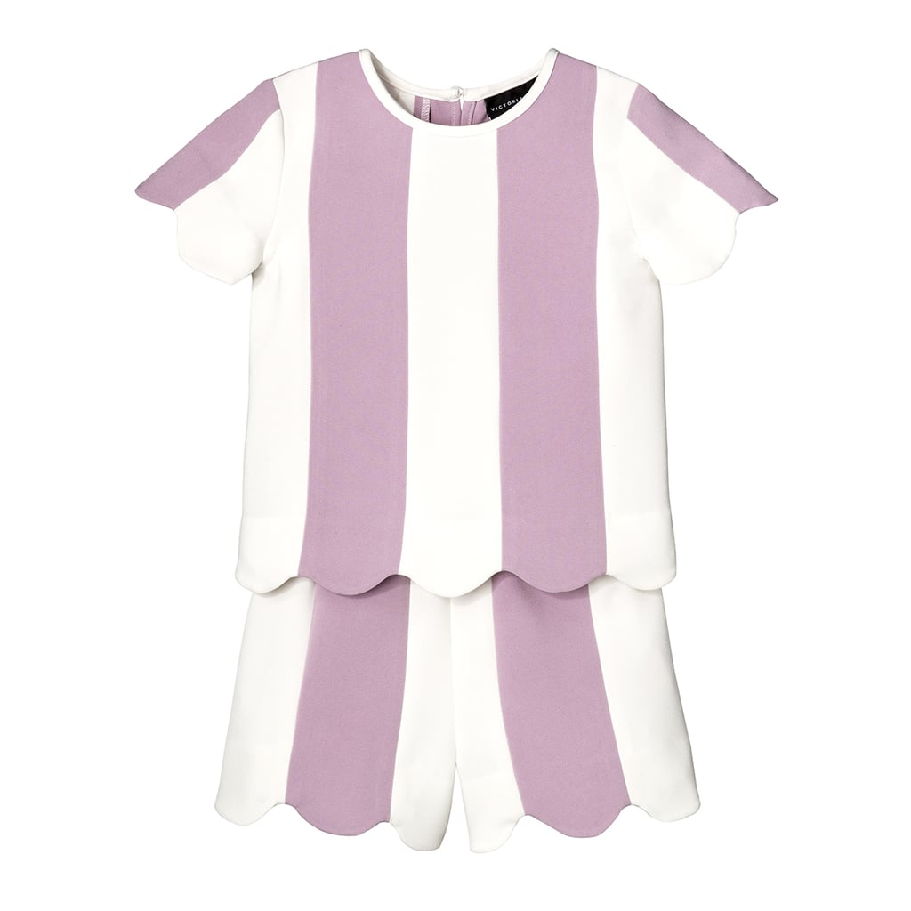 Toddler Girls' Mauve Stripe Scallop Sleeve Top and Short Set ($25)