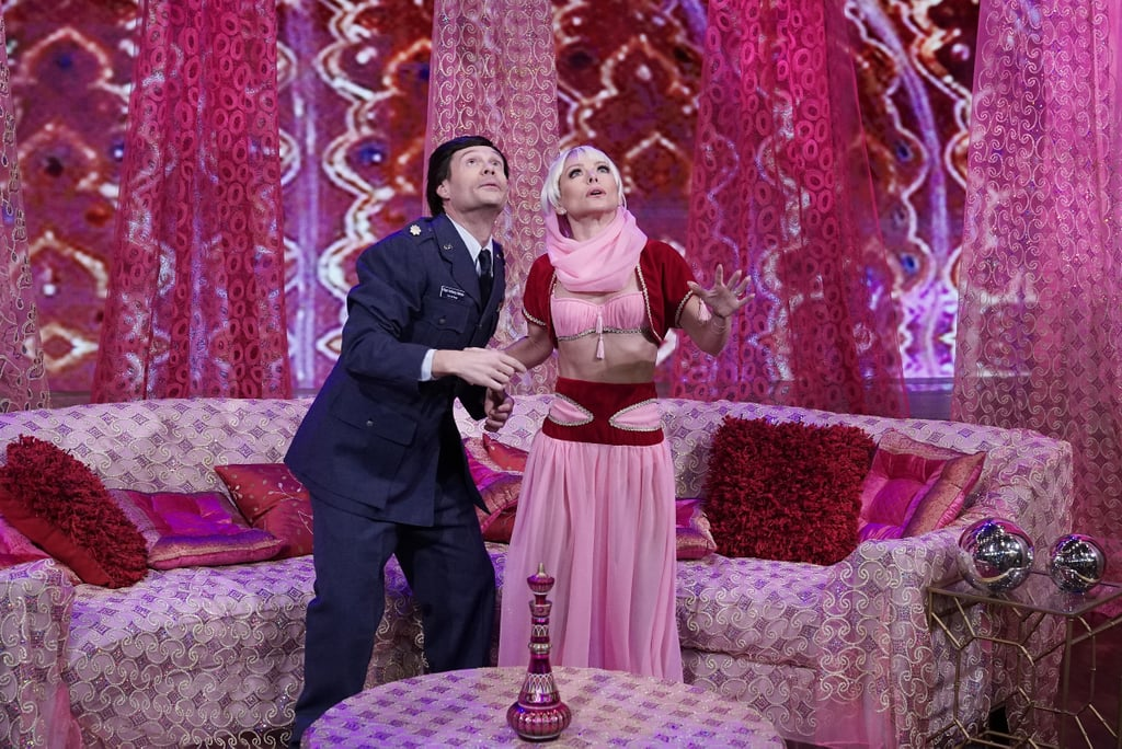 Kelly Ripa and Ryan Seacrest transform into I Dream of Jeannie characters Jeannie and Major Nelson.