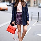 A Lace Top, Plaid Skirt, Navy Blue Coat, and Colorful Accessories