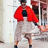 Break Up a Bright Coat and Printed Skirt With a Black Fitted Tee