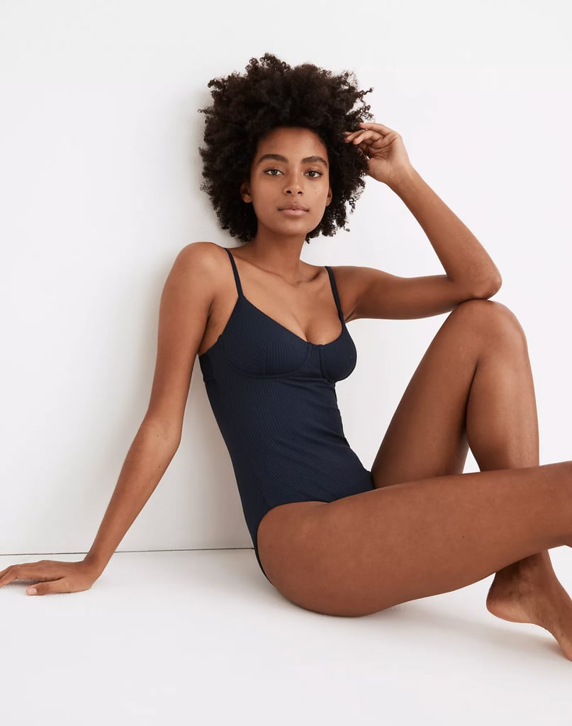 Madewell Second Wave Ribbed Structured One-Piece Swimsuit