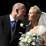 Mike Tindall goes in for the kiss.