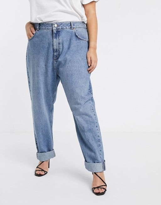 ASOS DESIGN Curve High rise 'slouchy' mom jeans in mid vintage wash