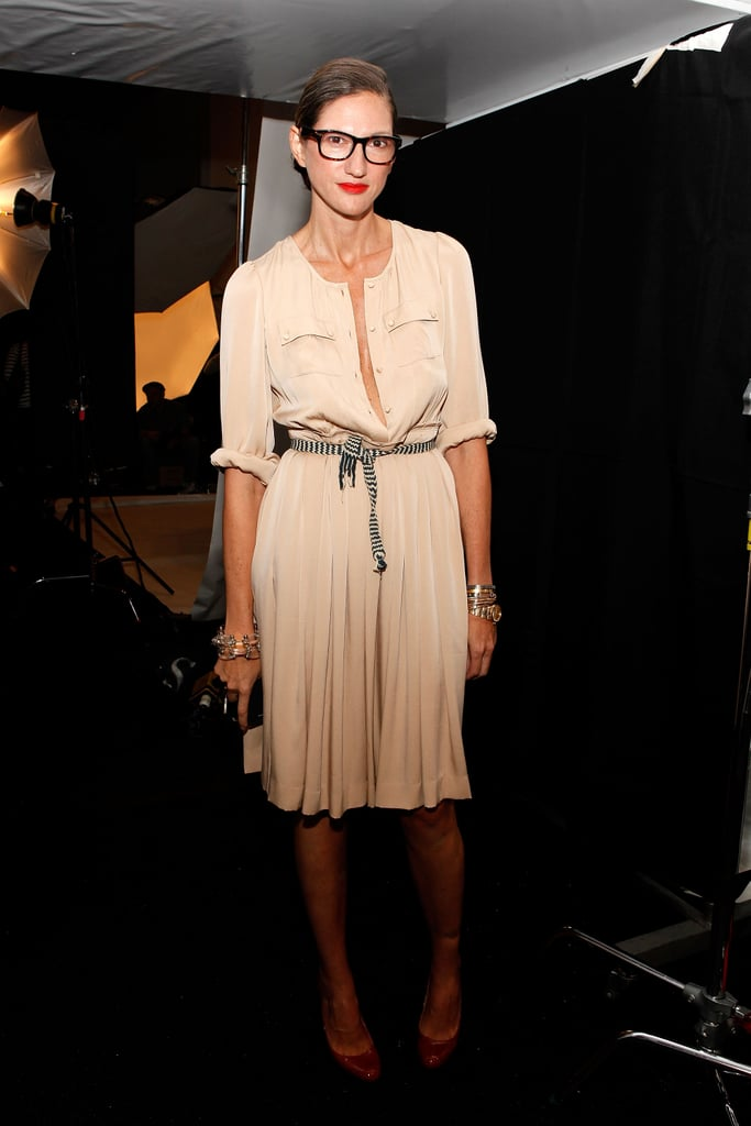 At J.Crew's Spring 2012 show, she went feminine in a peach-hued, pleated dress.