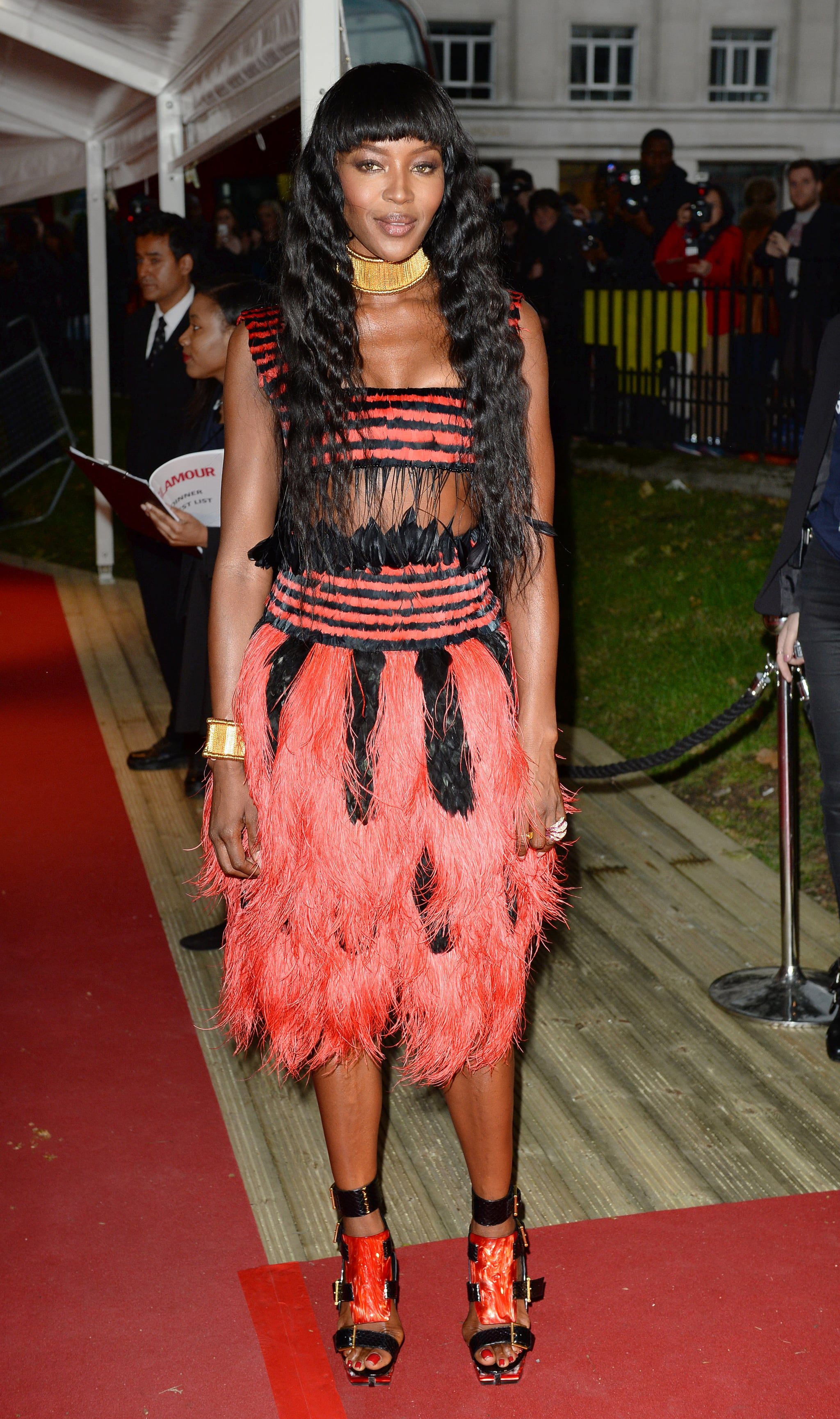 Naomi Campbell wore a colorful frock.