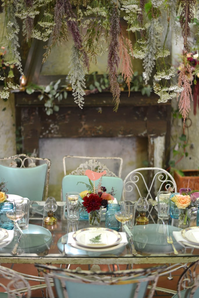 Hang foliage above the table like this . . .