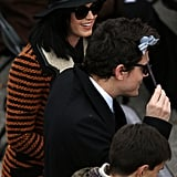 Katy Perry and John Mayer played around with a mini handmade version of Aretha Franklin's Inauguration hat from 2012.