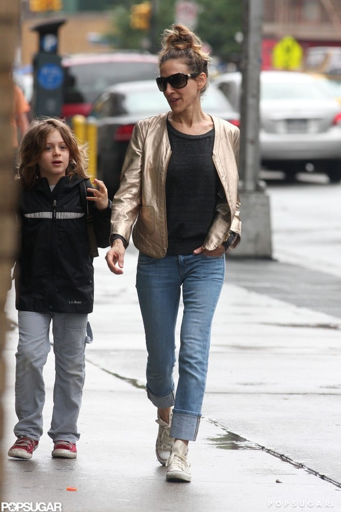 Sarah Jessica Parker walked her son James Wilkie Broderick through the West Village to drop him off at school.
