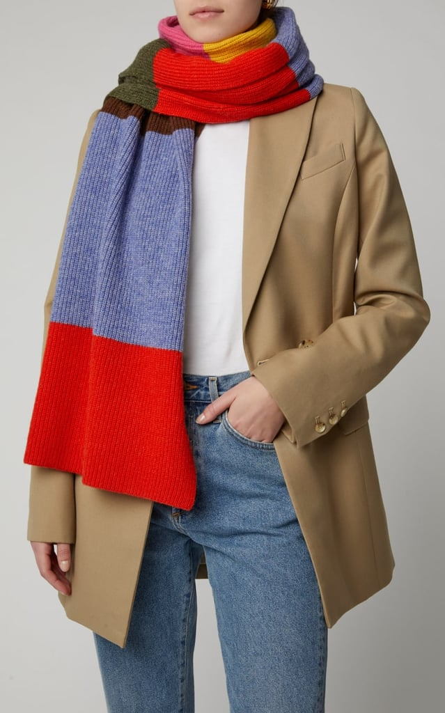 Ganni Ribbed Color-Block Wool-Blend Scarf