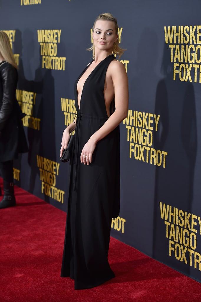 Margot Robbie Black Valentino Jumpsuit