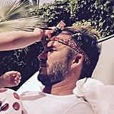 """David shared a cute snap of Harper doing his hair, joking, """"Someone is trying to make daddy feel pretty today after a heavy night."""""""