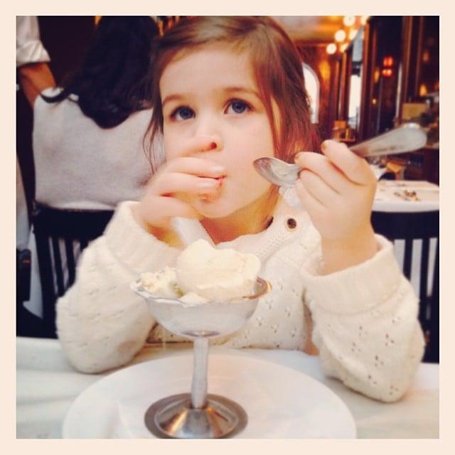 Harper Smith really enjoyed her dish of vanilla ice cream! Source: Instagram user tathiessen