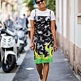 Have Fun With a Printed Dress and Style It With White Shoes
