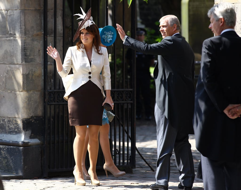 Princess Beatrice, Princess Eugenie, and Prince Andrew at Zara Phillips and Mike Tindall's wedding.