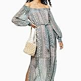 Topshop Sydney Snake Bardot Midi Dress