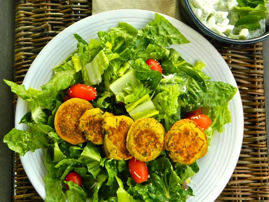 Falafel Salad with Cucumber-Dill Dressing