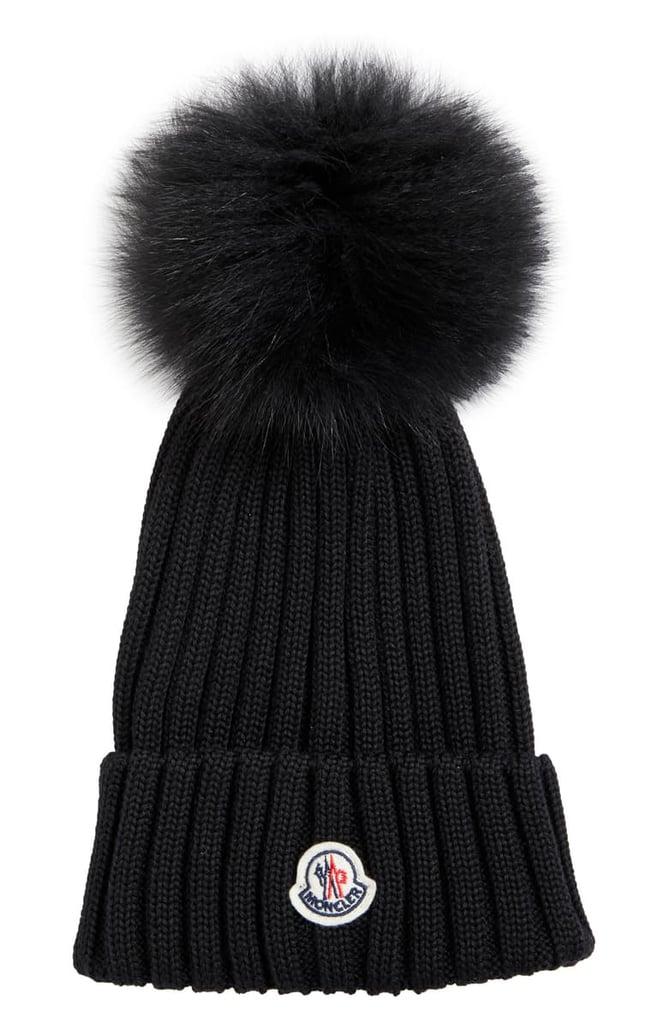 Moncler Rib Wool Hat with Genuine Fox Fur Pom