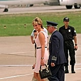 In Buenos Aires, Argentina, in 1995, with kitten heels and a powder pink dress.