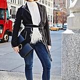 On Editor Sarah Wasilak: Karen Millen coatigan, Zara clutch, H&M jeans, Miu Miu shoes, and sweater editor's own