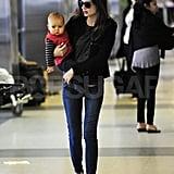 Miranda Kerr and son Flynn Bloom leave LAX.