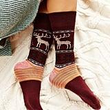Reindeer Intarsia Boot Sock