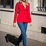 Whether you're a colour lover or more bright-hued shy, skinny jeans are just the gateway you need to rock that bright red jacket or blazer this season.