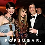 Andy Samberg met up with Anne Hathaway and Joanna Newsom at Vanity Fair's Oscar after party.