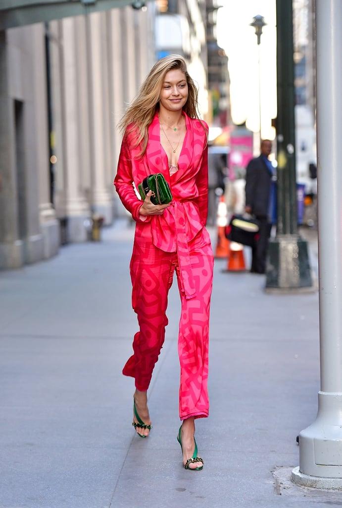 2b5dab43fc3d Gigi Hadid Was Caught Wearing a Pretty Pink Suit | Model Street ...