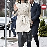 Queen Letizia Wearing a Trench Coat December 2016