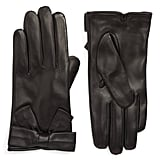 Kate Spade New York Self-Knot Bow Leather Gloves