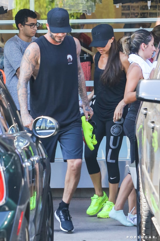 David Beckham is a regular at the SoulCycle studio in Brentwood, CA, but he turned his latest workout into a family affair. David, Victoria, and their oldest son, Brooklyn, all took a class together on Wednesday morning and followed it up with a stop to get smoothies. Not everyone may be cut out for the intense Spinning workout craze, but it's clear that the Beckham crew is fully on board and they're even getting their friends in on the fun. Victoria bought cute Spin shoes for her pal Eva Longoria and shared a snap of the gift on Instagram on Wednesday.