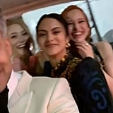 Tan France, Lili Reinhart, Camila Mendes, and Madelaine Petsch at the Vanity Fair Oscars Party 2020