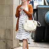 Reese Witherspoon wore a cute striped dress and flats on the construction site of her new home.
