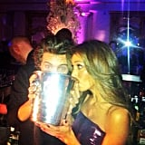 Harry Styles and Nicole Scherzinger drank from a giant ice bucket. Source: Instagram user nicolescherzy