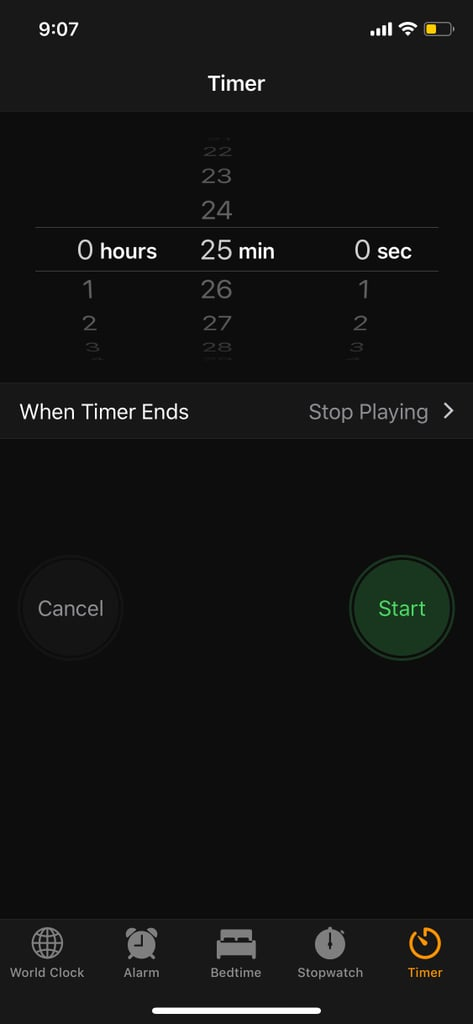 Return to the Timer Screen and Set Your Alarm