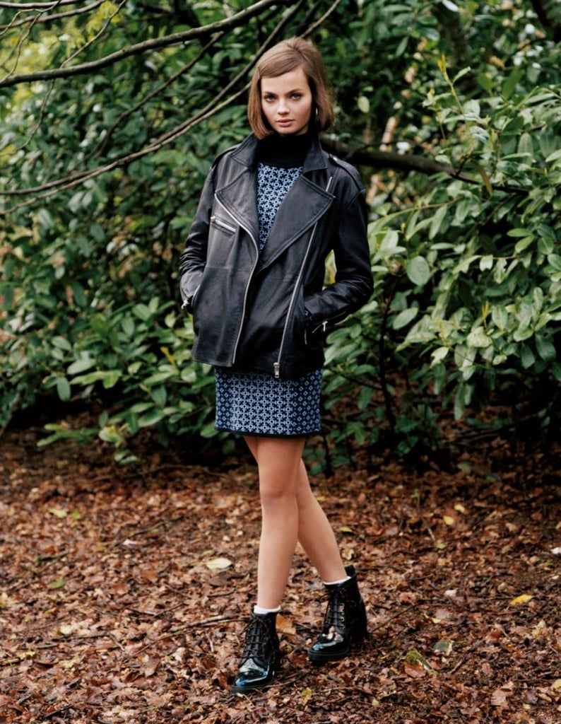 We love the low-key mix of printed dresses, flat ankle boots, and moto jackets that Topshop has presented — it's a sporty meets grunge look that we can get behind.