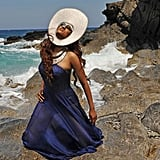 Tyra struck poses close to the ocean during the video shoot.  Photo courtesy of The CW
