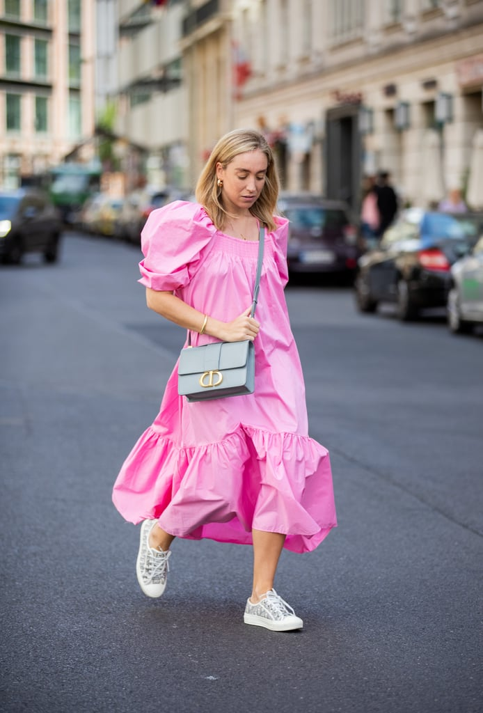 When wearing a candy-coloured, puff-sleeve dress, reach for light-coloured accessories