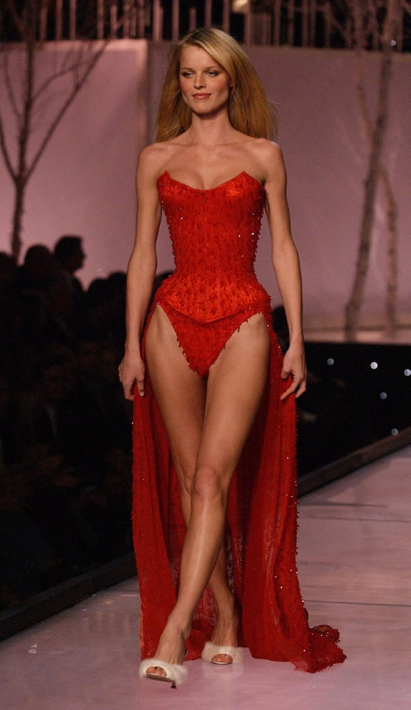 Eva Herzigova was a vision in crimson during the 2011 runway show.