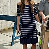 Jordana Brewster wore a sweet striped dress with neutral sandals.