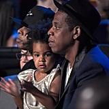 Blue drew eyes when her famous mom took the stage to perform a medley of her songs at the 2014 VMAs. As Beyoncé performed, Blue adorably clapped for her mom in the audience before she and Jay Z made their way to the stage to present Beyoncé with the Michael Jackson Video Vanguard Award.