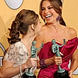 Sarah Hyland and Sofia Vergara celebrate their win.