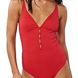 Red Carter Juanita Plunging One-Piece Swimsuit