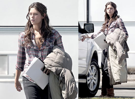 Photos of Ashley Greene in a Plaid Shirt on the Set of The Apparition in LA