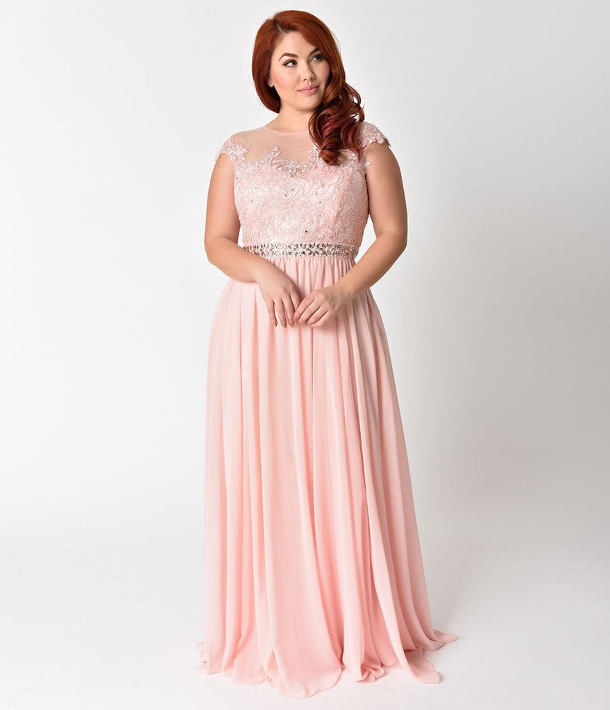 Curve Blush Pink Embellished Lace & Chiffon Cap Sleeve Prom Gown ...